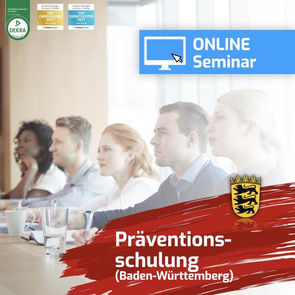 Online Präventionsschulung Baden-Württemberg Spielhalle Wiederholung 2021